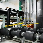 insulated pipeline in industrial interior